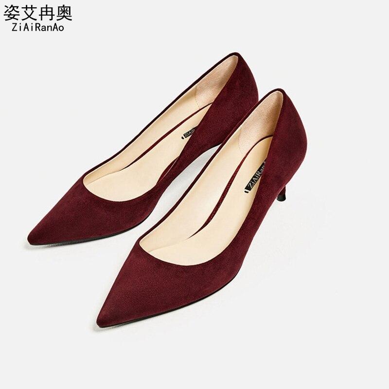 Full Season Elegant Shoes Woman PU Nubuck Leather Women Pumps Slip On 5 CM High Heels Pointed Toe Womens Shoes  <br>