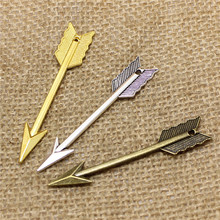Buy PULCHRITUDE 20pcs 11*61mm three color Metal Zinc Alloy Arrow Charms Vintage Trendy Bow Pendant Jewelry Making T0509 for $4.39 in AliExpress store