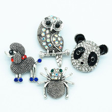 New KZ1412 Beauty Rhinestone Lovely animals Owl spide dog panda 18MM snap buttons fit snap bracelet jewelry wholesale