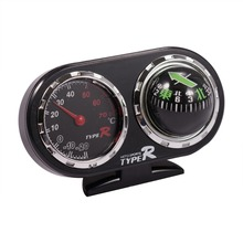 Black 2 in 1 Auto Car Vehicle Navigation Compass Ball & Thermometer