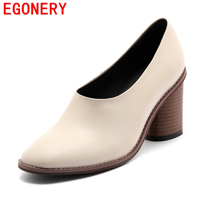 egonery office ladies working shoes 2017 new style round toe concise dress shoes woman round toe  high heels for spring footwear<br>