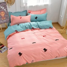 Cotton Blend Bedding Sets Red lips Hat Printed Single Double Queen King Size Pillowcase Quilt Duvet Cover Bed Sheet Home Textile
