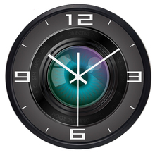 Creative Cameraman Camera Lens Funny Wall Clock , Super Silent Smooth Glass Clock for Men Women Family(China)