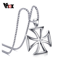 "Vnox Cross Necklace Pendant Men Jewelry Silver Color Stainless Steel Hollow free 24"" Chain(China)"