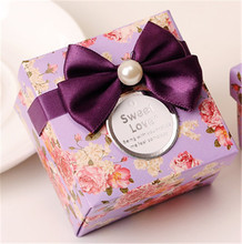 50pcs/lot purple full flower candy box as wedding favor box holiday supplies 6*6*4cm with bow and cards