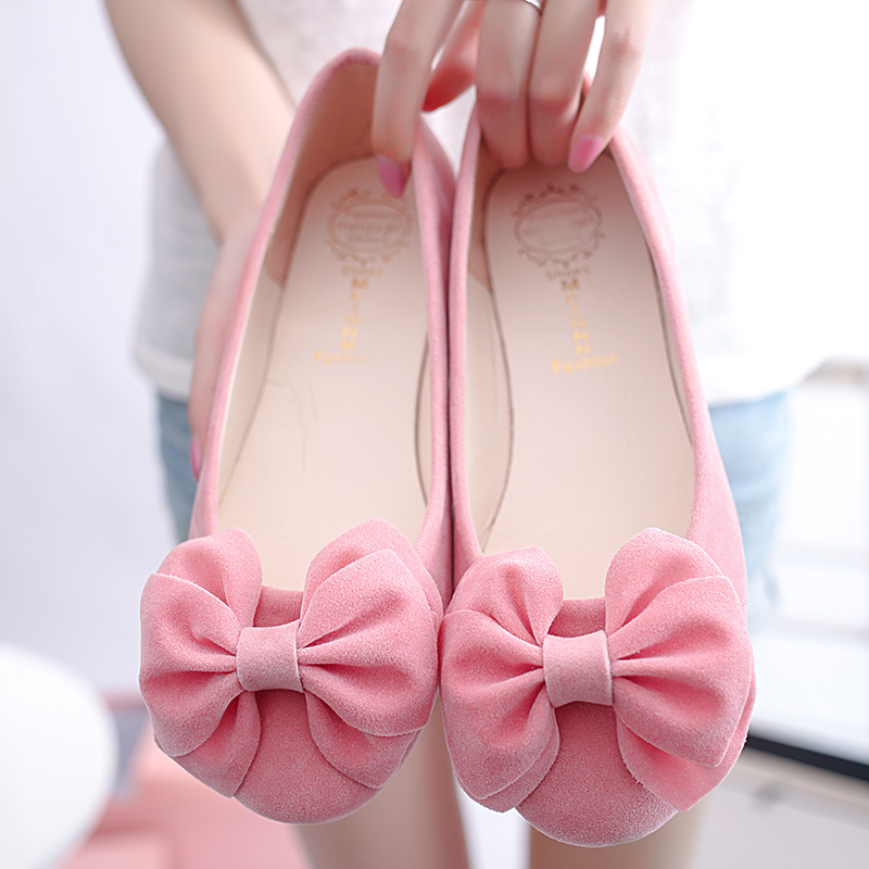 Spring and autumn shoes pink gentlewomen shoes round toe shallow mouth flat-bottomed sweet bow black soft outsole work shoes<br><br>Aliexpress