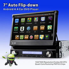 "1din auto Flip down panel Android 7"" Car Audio DVD video Player radio with AM FM RDS GPS Navi car stereo DAB+ DVBT (optional)"