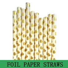 100pcs Metallic Gold Foil Heart Paper Straws,Valentine Wedding Birthday Party Shower,FDA Approved Drinking Paper Straws Bulk