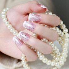 24pcs Box Finished product Senior Bride Wedding Fake Nails Normal Length French Manicure Patch Christmas series snowflake  F107