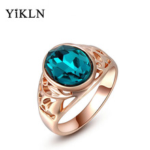 YiLKN Exquisite rose gold green ring with AAA zircons colorful trendy fashion jewelry for women best Christmas gift 2010279280