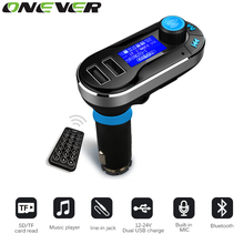 Onever Bluetooth Car Kit MP3 Player Handsfree Wireless FM Transmitter Radio Adapter USB Charger LCD Display with Remote Control(China)