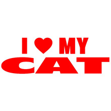 Artistic Lettering I Heart Love My Cat Car Sticker for Wall Truck Window Motorcycle Car Styling Reflective Vinyl Decal 10 Colors