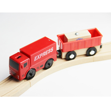 w115 Free Shipping Electric Trucks Express Delivery Car Compatible Thomas Rail Various wooden tracks Kids Rail Car Toys(China)