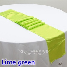Lime green colour satin table runner wedding decoration for modern wedding party hotel banquet decoration table runner wholesale(China)