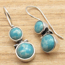 Silver Plated Jewelry! LARIMAR Designer Hinge Earrings! Latest Design! Brand New