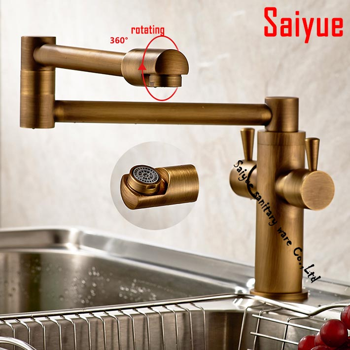 2016 new arrival 1080 degree rotating Wall Mounted kitchen vegetables basin sink faucet Mixer Tap folding deck mounted antique<br><br>Aliexpress