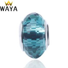 WAYA Silver Color Fascinating Peacock green Murano Glass Beads European Charm Fit Snake Chain Bracelets DIY Accessories Jewelry