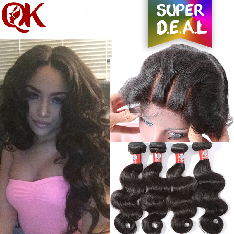 QUEENKING Grade 7A Brazilian Virgin Hair With Closure  Human Hair with Closure 4 Bundles Brazilian Body Wave With Lace Closure<br><br>Aliexpress