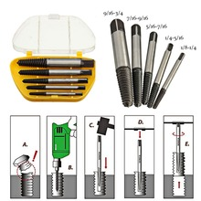 5pcs/set Screw Extractors Tool Kit Used in Removing the Damaged Screws with Box