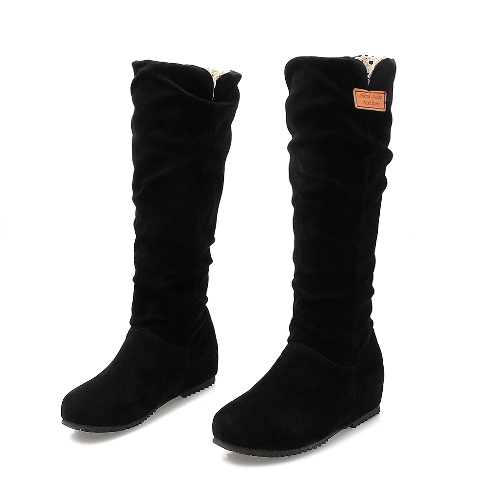 Winter Boots Botas Mujer Big And Small Size 30-52 Women Shoes Knee High Boots Round Toe Square Height Increasing Quality 511 <br>
