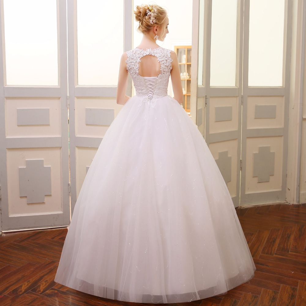QQ Lover 2018 Lace Embroidered Beading Vintage Sweet Straps Wedding Dress Yarn Puff 5