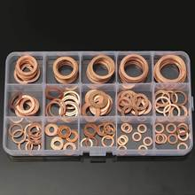 150PCs Solid Copper Washers Sump Plug Assorted Washer Set Plastic Box 15 Sizes Great Electrical And Thermal Conductivity(China)