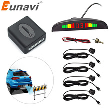 Eunavi 1set Auto Parktronic Led Parking Sensor Kit Display 4 Sensors For All Cars Reverse Assistance Backup Radar Monitor System(China)