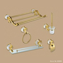 Luxury Antique Art Gold Bathroom Hardware Hanger Set Towel Rack Ring Paper Holder Brush Glass Shelf Sanitary Discount Package(China)