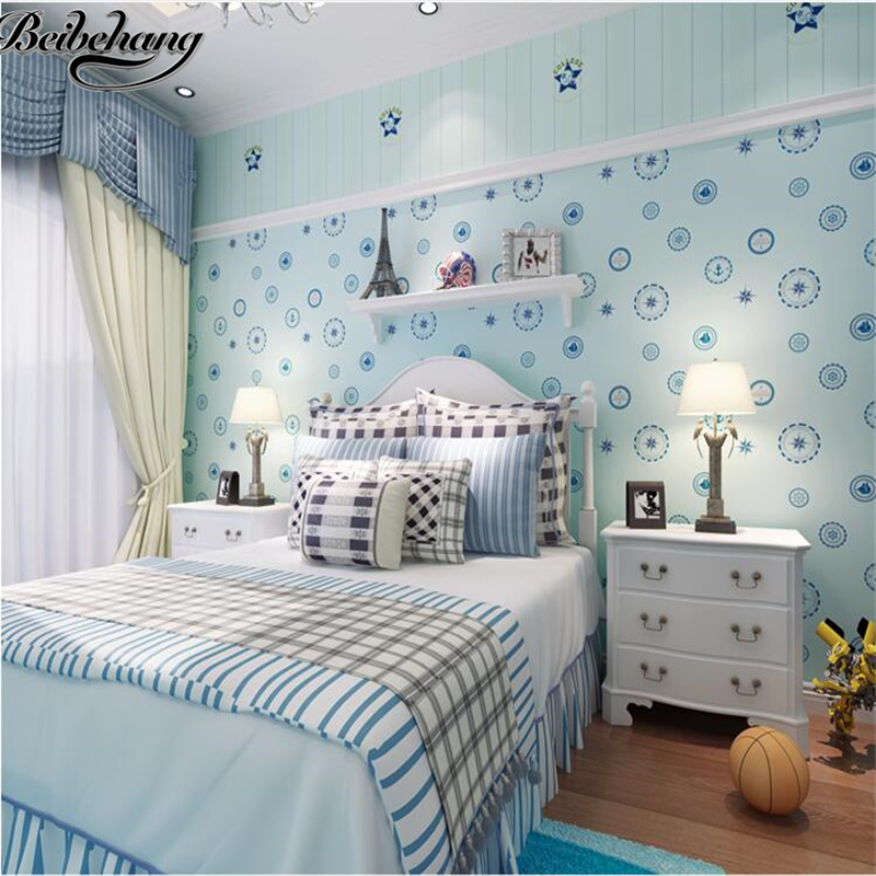 beibehang Mediterranean style children sailing non - woven wallpaper living room bedroom restaurant background wall wallpaper<br>