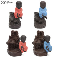 Kiwarm Ceramic Little Monk Cone Stick Incense Burner Rockery Backflow Holder Home Furnishing Office Decoration Holiday Gift