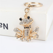 Lovely Frog Pendant Charm Rhinestone Crystal Purse Bag Keyring Key Chain Accessories Wedding Party Holder Keyfob Gift(China)
