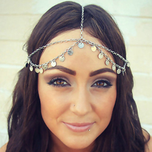 New fashion dics double layer head chain hair jewelry silver plated round metal coin headband grecian headchain gypsy head piece