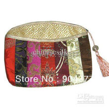 Luxury Patchwork Small Zipper Pouches Party Favors Tassel Silk Brocade Gift Packaging Bags 10pcs/lot mix Color Free shipping