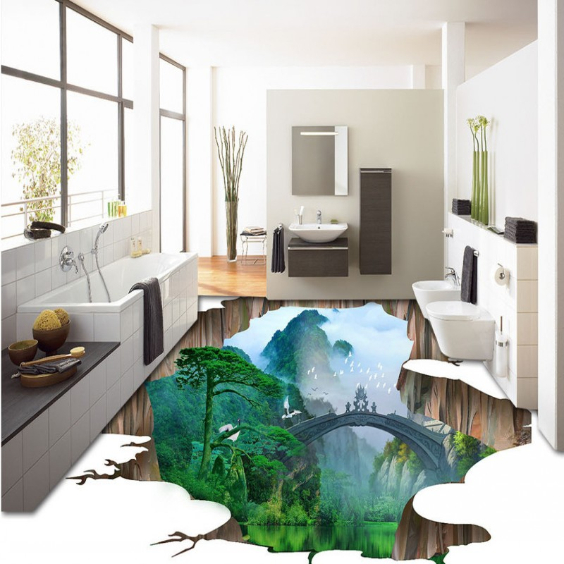 Free Shipping 3D Outdoor Alpine Pine Ground Backdrop floor waterproof thickened home decoration flooring wallpaper mural<br>