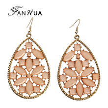 FANHUA Pink Jewelry Big Dangle Gift Earrings Elegant Gold-Color Orecchini for Women