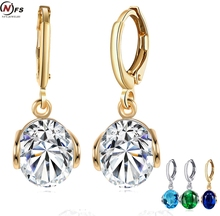 NFS 4 Colors Round Cut Crystal Earrings Wedding Brand Gold Filled Long Earrings For Woman Indian Supplies For Jewelry(China)