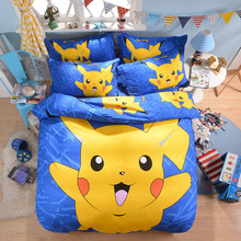 Home Textile Pikachu Printed Bedding Set 3d Cartoon Bed Linen Kids 3-Include Duvet Cover Sheet Pillow Case - E-Bedding Market store