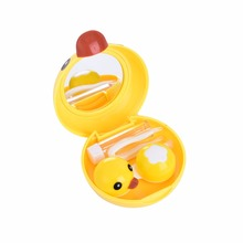 Cute Little Yellow Duck Portable Pocket Contact Lens Case for Women Travel Kit Holder Contact Lenses Box with Mirror