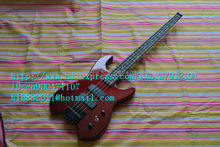 free shipping new headless electric bass guitar in red with basswood body F-1187