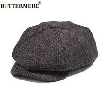 BUTTERMERE Mens plana gorra de lana de boina marrón Otoño Invierno Vintage  repartidores sombreros hombre británico 8c6d22a9113