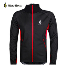WOLFBIKE Men Fleece Thermal Winter Wind Cycling Jacket Windproof Bike Bicycle Coat Clothing Long Sleeve Jersey black with red