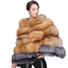 DHL High Quality Red Fox Fur Coat Silver Fox Fur Spliced Full Leather Cape Poncho