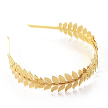 Baroque Wedding Western Hair Accessories Vintage Gold Leaf Headband Metal Leaves Hairband Tiara Headpiece Head Jewelry For Women