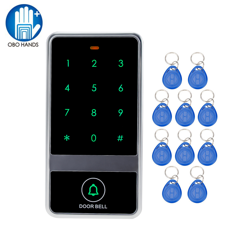 Touch screen access control system keychain reader For Access Control System C60 Model+10 RFID Key Tags Support 8000 Users<br>