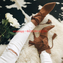 2016 Autum/Winter Women's Suede Boots Shoes Fashion Pointed-toe Ankle Boots Female High-heeled Tassels Boots Bottes Femmes