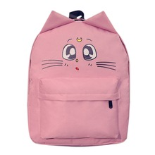 Ear Cat Flower Printing Backpack Women Canvas Cartoon Shoulder Bag Schoolbag Backpacks for Teenage Girls Travel Bolsa Mochila