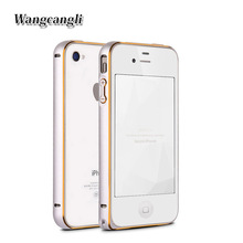 Wangcangli bumper on for iPhone 4 4s case cover bumper in mobile phone aluminam case bumper protector Case on for iPhone 4s case