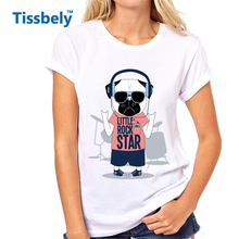 Tissbely Funny Dog T Shirt Women Dog Little Rock Star Cute Sweet Style Graphic Print Tee Personalised Femme Tops