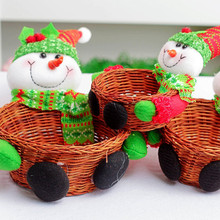 Cute Smile Snowman Doll Toy Christmas Candy Storage Basket Decoration Festive Party Gift Food Storage Basket Kids Xmas Toy