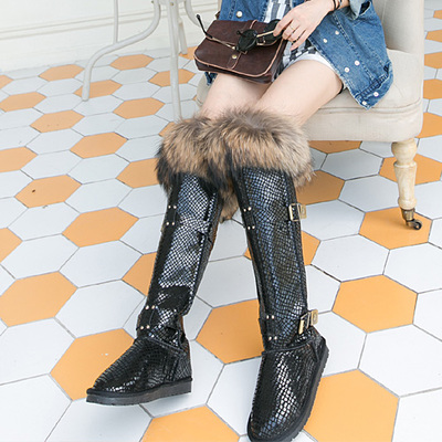 2016 Fox Fur Nature Leather Winter Snow Boots Women Waterproof Over The Knee Long Boots Size 40 High Quality <br><br>Aliexpress